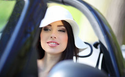Woman driving cabrio  car. Royalty Free Stock Image