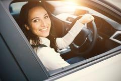 Woman driving a car Royalty Free Stock Photos