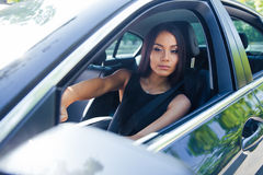Woman driving car royalty free stock images