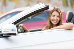 Woman driving a car Royalty Free Stock Images