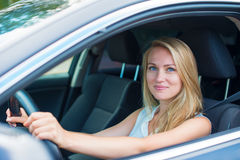 Woman driving a car. Stock Photos