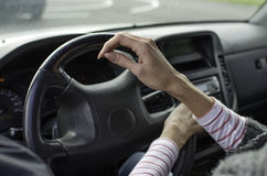 Woman driving car. Woman driver driving a car Royalty Free Stock Images