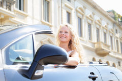 Woman driving car - female driver Royalty Free Stock Image
