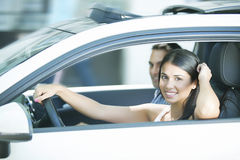 Woman driving car Royalty Free Stock Image