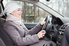 Woman driving a car looking forward Royalty Free Stock Photos