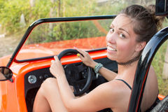 Woman driving a convertable sport car Royalty Free Stock Photography