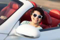 Woman Driving a Convertible Stock Photo