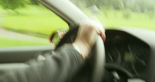 Woman driving fast . stock footage