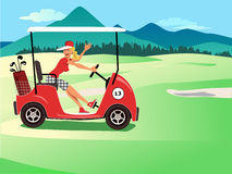 Woman driving a golf cart Royalty Free Stock Photography
