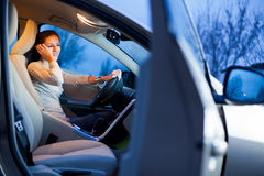 Woman driving her  car Royalty Free Stock Photography