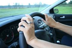 Woman driving her car. Stock Image