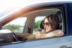 Woman driving her car Royalty Free Stock Image