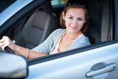Woman driving her new car Royalty Free Stock Photography
