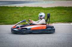 Woman driving a kart Royalty Free Stock Images