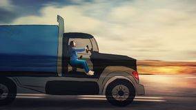 Woman driving lorry truck. Confident young woman driving a cartoon truck transport on a imaginary highway. Imaginary lorry on freeway stock photography