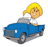 Woman Driving Old Truck Stock Photos