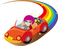 Woman driving on the rainbow. Illustration of Woman driving on the rainbow Stock Images