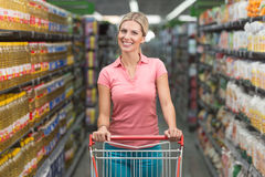 Woman Driving Shopping Cart While Grocery in Supermarket Royalty Free Stock Photo