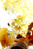Woman drop leaves in autumn park. Woman drop up leaves in autumn park Royalty Free Stock Photo