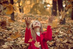 Woman drop up leaves Royalty Free Stock Photo