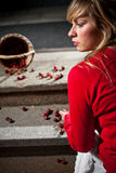 Woman dropped her fresh cherries Stock Photography