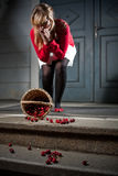 Woman Dropped Her Fresh Cherries Royalty Free Stock Photos