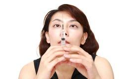 Woman of drug addiction Stock Image