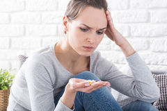 Woman and drugs stock photography