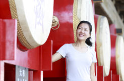 Woman at the drum tower Royalty Free Stock Images