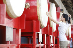 Woman at the drum tower Royalty Free Stock Image