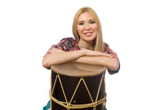 Woman with drum on white. The woman with drum isolated on white royalty free stock photos