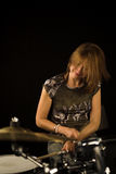 Woman drummer Royalty Free Stock Images