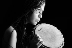 Woman drummer Royalty Free Stock Image