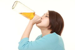 Woman drunk too much Stock Photo