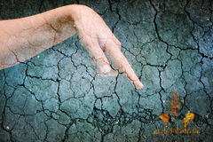 Woman dry cracked skin hand pointing on colourful trees on cracked grey background Royalty Free Stock Photos