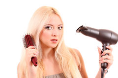 woman dry her long hair Royalty Free Stock Photography
