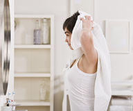 Woman Drying Hair Royalty Free Stock Photos