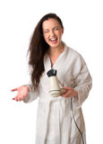 Woman is drying hair Stock Photo