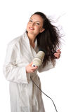 Woman is drying hair Stock Image
