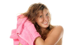 Woman drying hair with towel stock photo