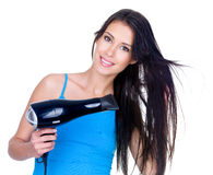 Woman Drying Her Hair Stock Photo