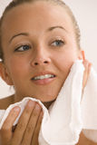 Woman Drying Skin Stock Photo
