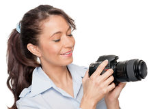 Woman with dslr Stock Photo