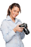 Woman with dslr Royalty Free Stock Photography