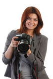 Woman with a DSLR Stock Image