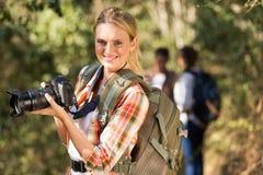 Woman dslr camera outdoors Royalty Free Stock Photos