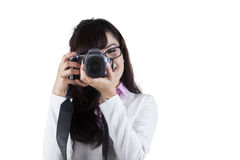 Woman with DSLR camera Stock Photo