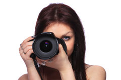 Woman with DSLR isolated Royalty Free Stock Photos