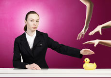 Woman and duck Royalty Free Stock Images