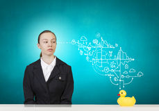 Woman and duck Royalty Free Stock Image